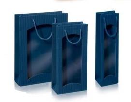 Dovanų maišelis 270x85x360mm mėlynas su langeliu