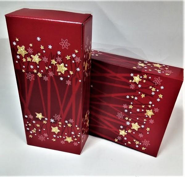 Dovanų dėžutė 162x78x363 raudona su žvaigždutėmis