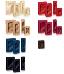 Dovanų maišelis 270x85x360mm mėlynas su langeliu Image 3