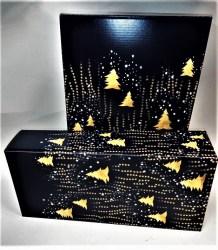 Dovanų dėžutė 162x78x363 mėlyna su eglutėmis Image 1