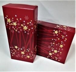 Dovanų dėžutė 162x78x363 raudona su žvaigždutėmis Image 0