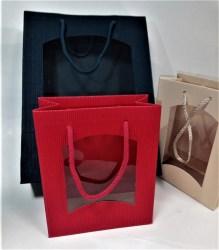 Dovanų maišelis 270x85x360mm mėlynas su langeliu Image 2