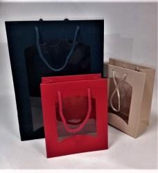 Dovanų maišelis 270x85x360mm mėlynas su langeliu Image 1