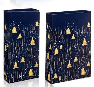 Dovanų dėžutė 162x78x363 mėlyna su eglutėmis